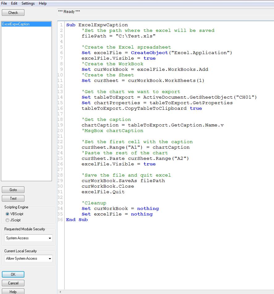 Using VBA Macro a Simple Example - Qlik Community