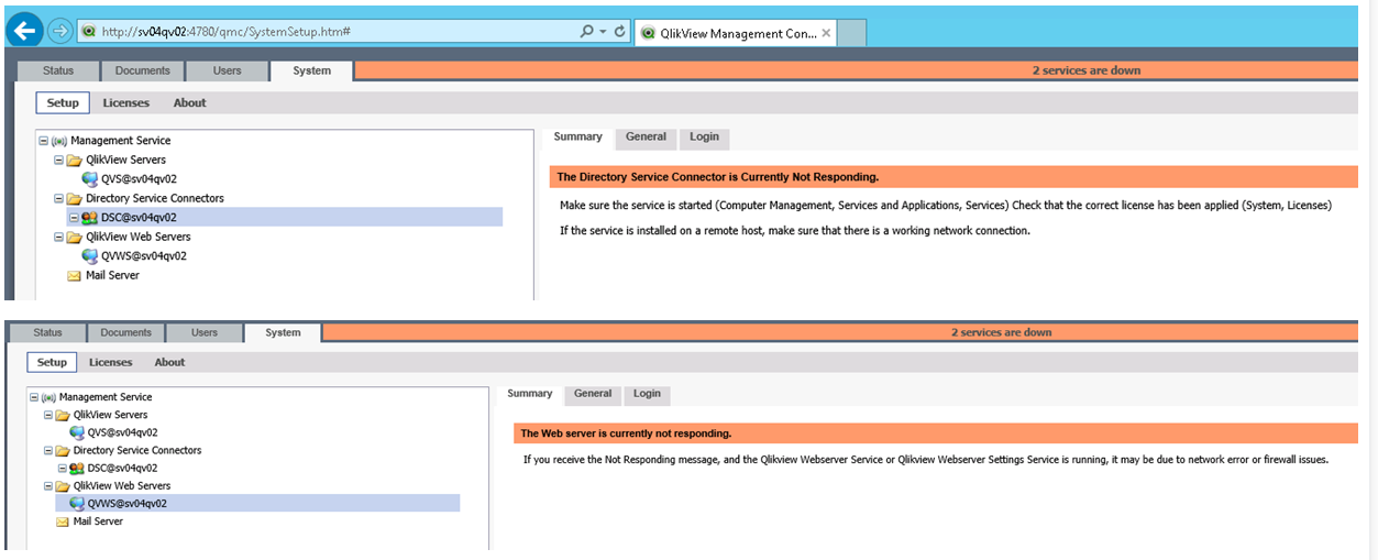 Solved: 2 Services down after Moving from Qlikview Webserv
