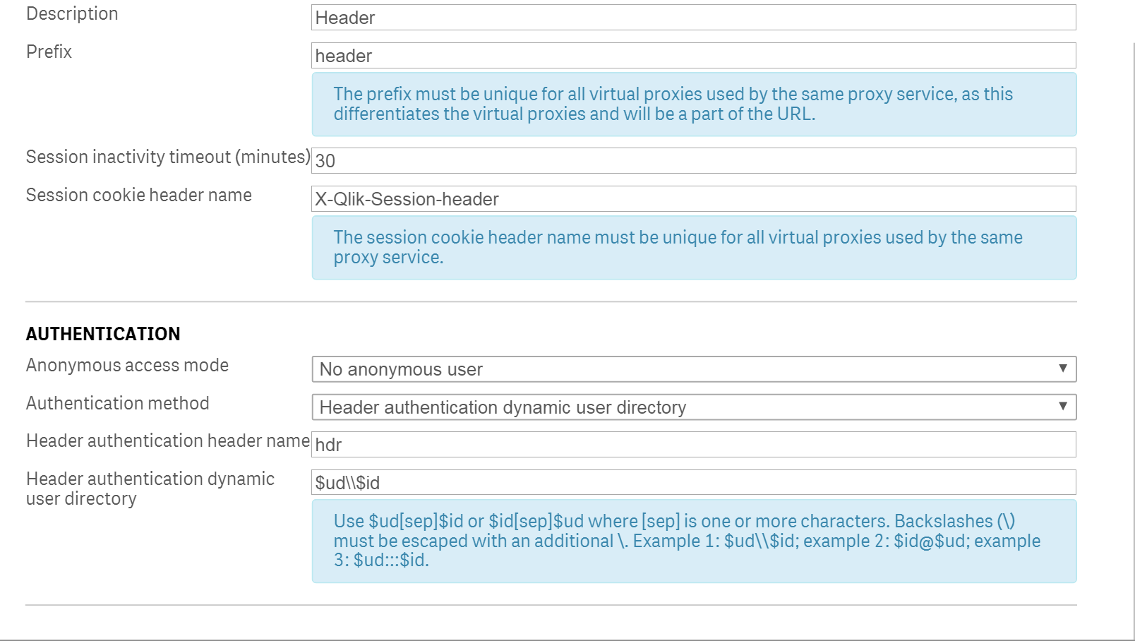 Solved: Header Auth Virtual Proxy is not working - Qlik