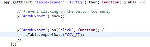 Solved: CSV export with Table API on mashup - Qlik Community