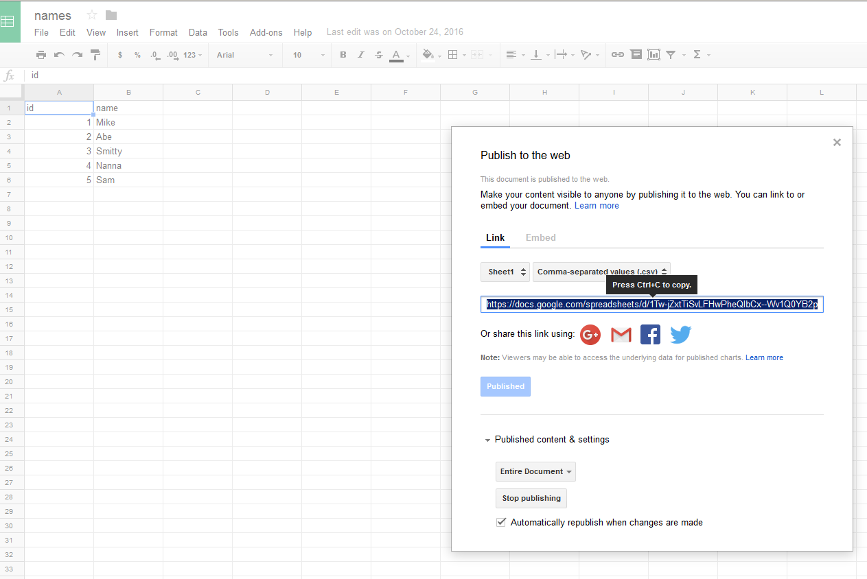 Here is a sample from my Google Sheets - note I needed to first publish it  to the web as a .csv from within the Google Docs interface: