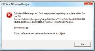 NPrinting prompts error when edit template - Qlik Community