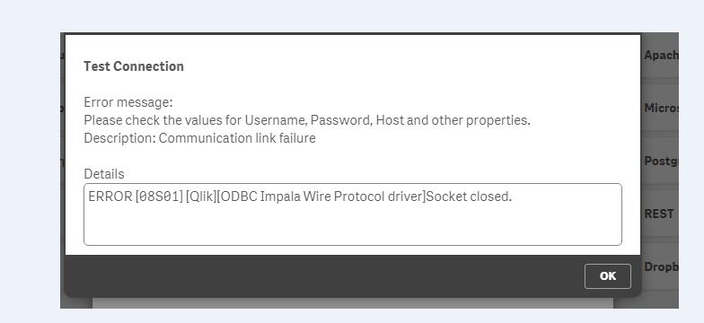 Not able to Connect Cloudera impala with qliksense - Qlik Community