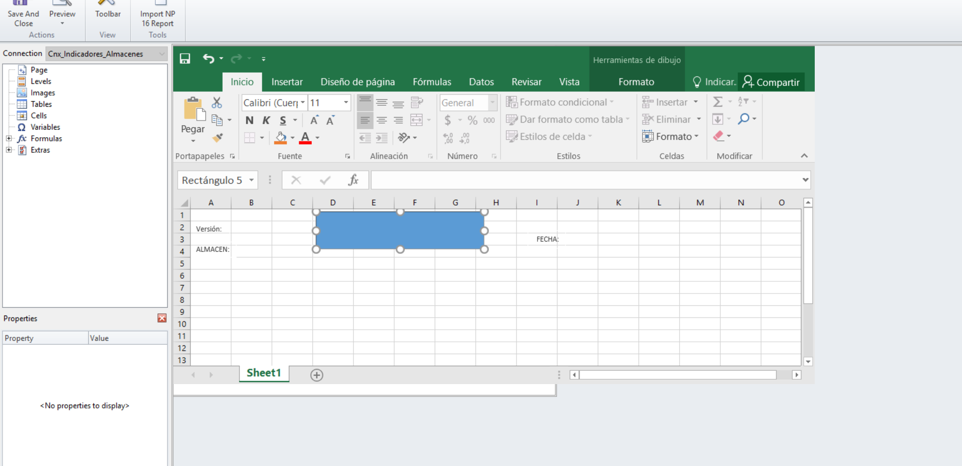 problems when opening template excel of NPrinting     - Qlik