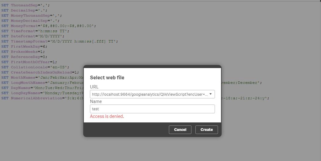 Access denied error while pulling data through Web    - Qlik Community
