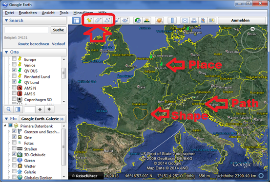 Use Google Earth as editor for