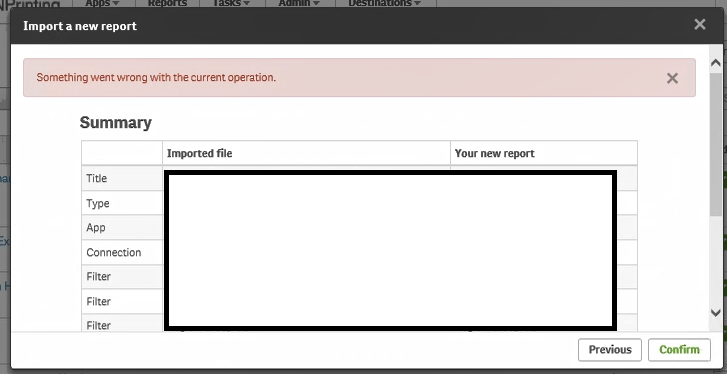 final step of importing template