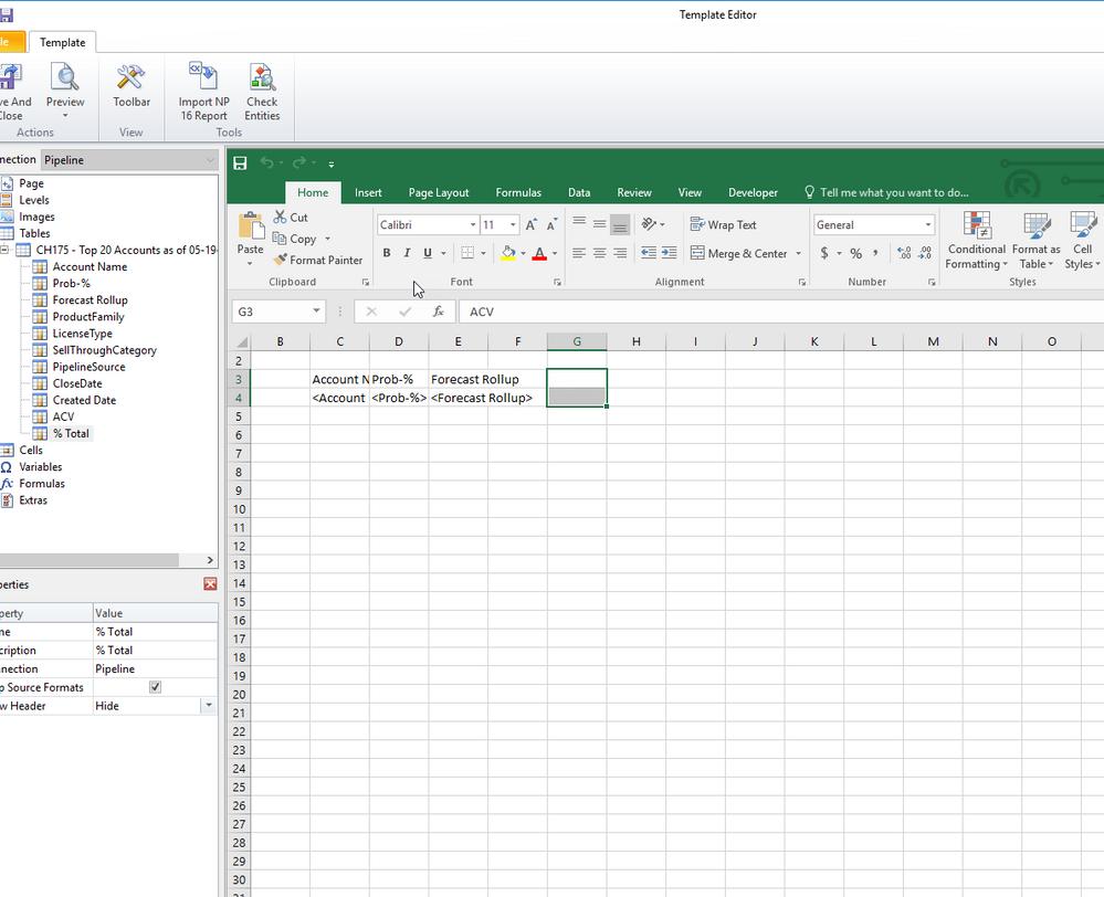 NPrinting Designer Excel freeze
