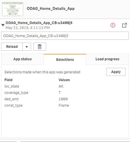 Here you can see the selections being made in the summary app passing to the odag window