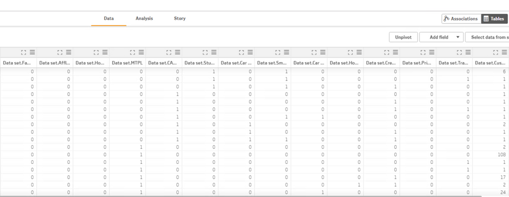 data in Qlik Sense data section