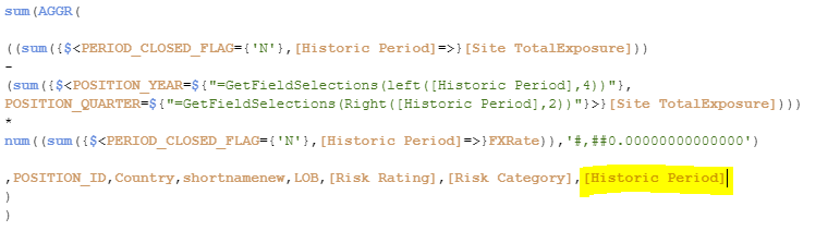 I tried adding the Historic period as a dimension in the SUM(AGGR()) but then the KPI shows 0 value.