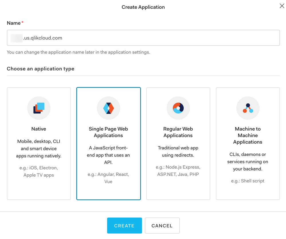 Auth0 Create Application Form