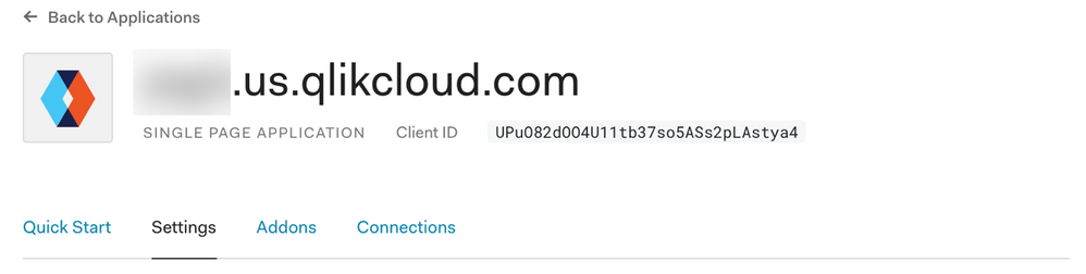 Top bar for Auth0 application.
