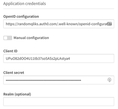 Identity provider configuration application credentials section