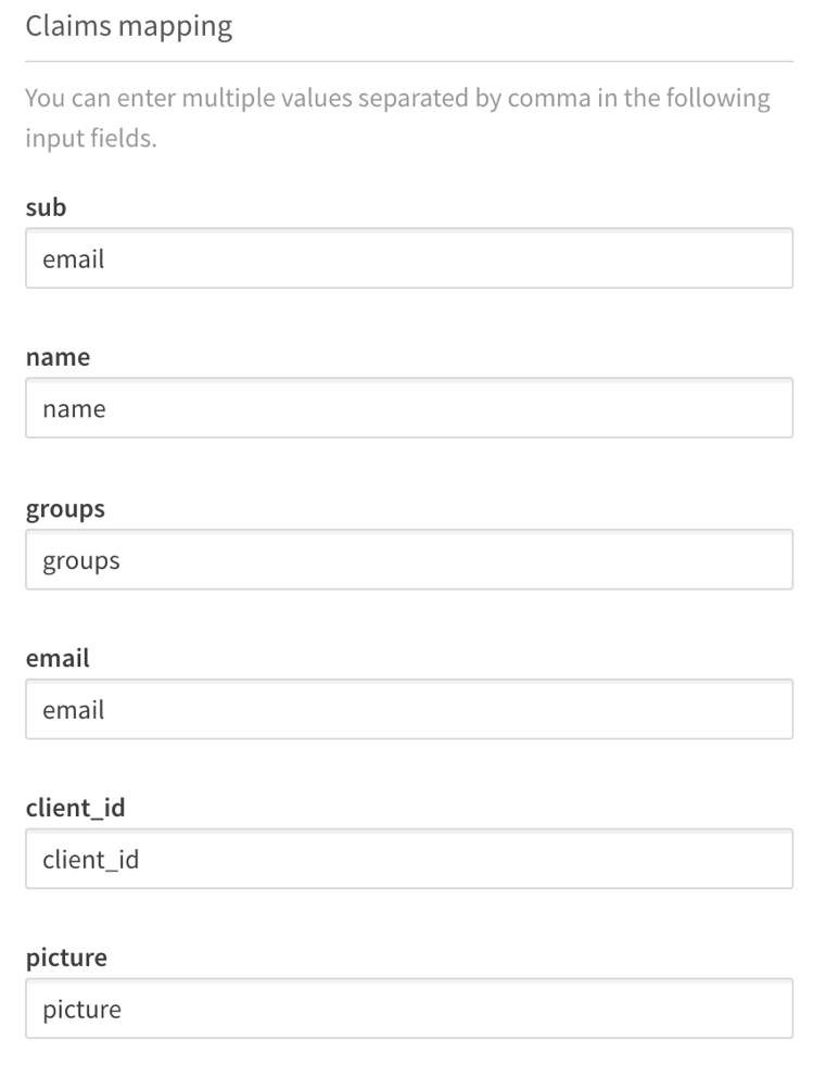 Identity provider configuration claims mapping section