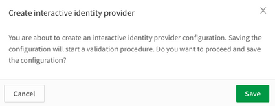 confirm save identity provider configuration