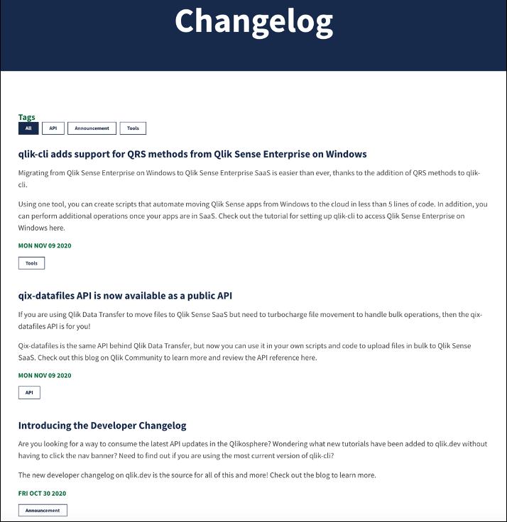 A screenshot of the qlik.dev developer changelog