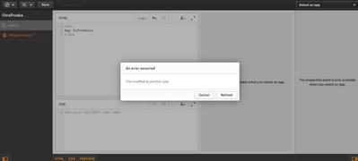 Screen capture of the error
