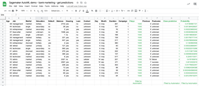 Google Sheet with predictions in green added by automation