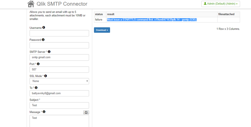 SMTP Connector in Qlik Sense gmail - Qlik Community