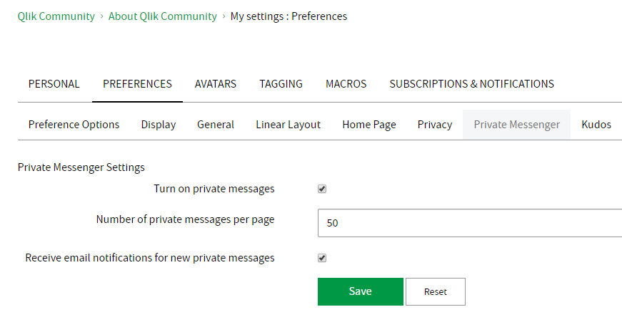 My Settings - Preferences - Private Messenger.png