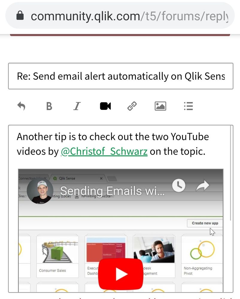 Trouble embedding Youtube videos in forum - Qlik Community