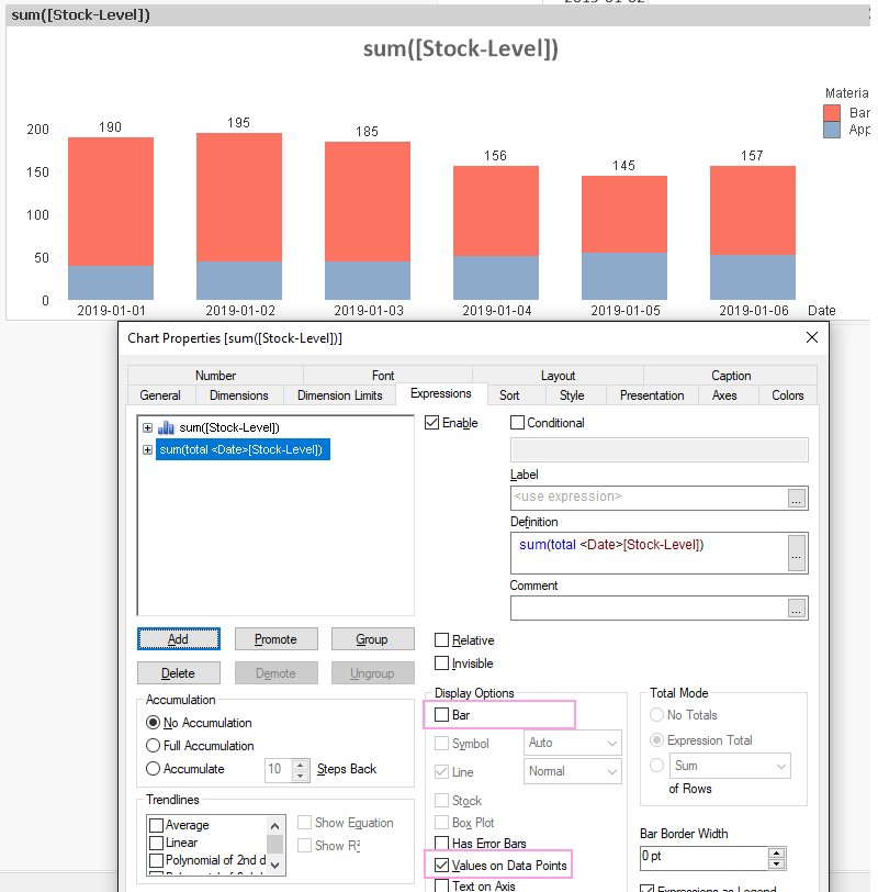 Display Single Total On Axis For Stacked Bar Chart