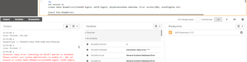 Solved: Unable to create/insert into SQL temp table after     - Qlik