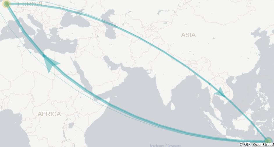 MAP - IATA airport codes identified as ISO alpha 3    - Qlik